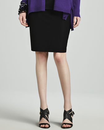 Washable Stretch Crepe Pencil Skirt, Petite
