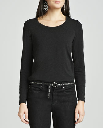 Cozy Long Lean Top, Organic Cotton Stretch Jeans & Italian Leather Skinny ...