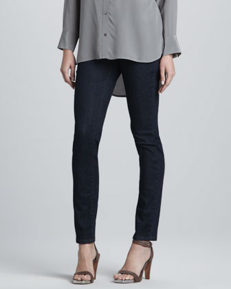 Silk Crepe de Chine Long-Sleeve Shirt & Soft Stretch Skinny Jeans