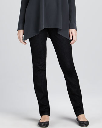 Crepe de Chine Boxy Shirt & Soft Denim Skinny Jeans