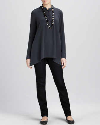 Crepe de Chine Boxy Shirt & Soft Denim Skinny Jeans, Women's