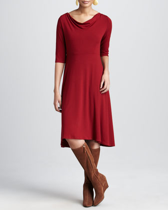 Drape-Neck Jersey Dress