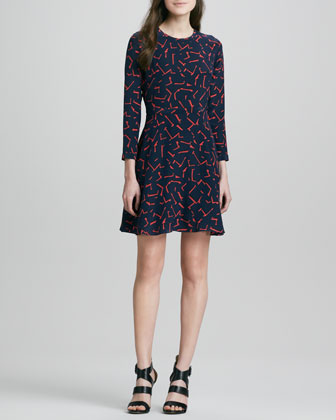 Printed 3/4-Sleeve Fit-and-Flare Dress