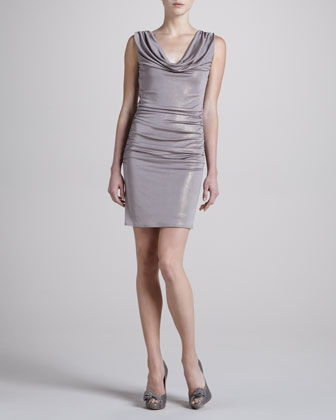 Cowl-Neck Glam Foil Dress