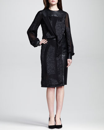 Eros Fil Coupe Long-Sleeve Dress