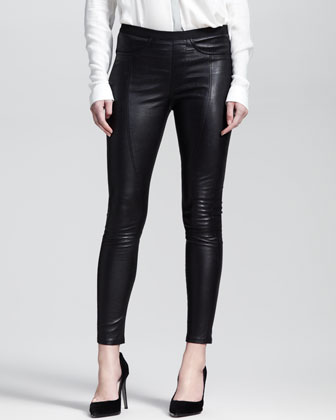 Two-Tone Patch-Pocket Top & Cropped Zip-Leg Leather Leggings