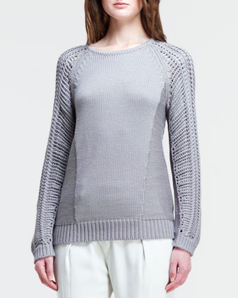 Skeletal Cord Mixed-Knit Pullover