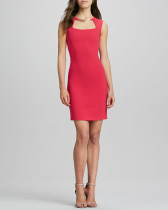 Sheath Dress with Cutout Neck