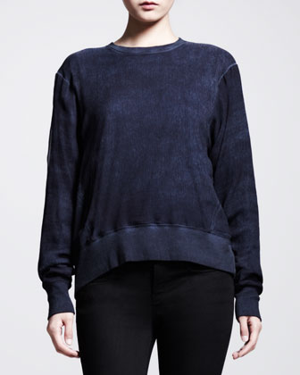 Washed Voile Angled-Hem Sweater