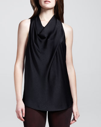 Draped Racerback Top, Black