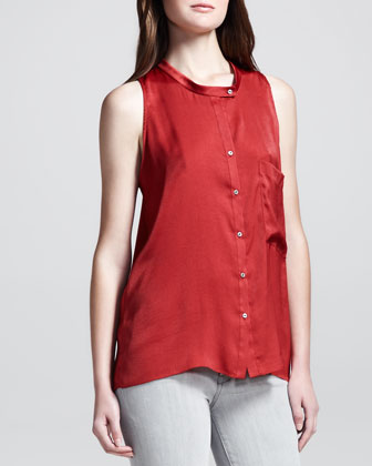 Button-Front Racerback Top