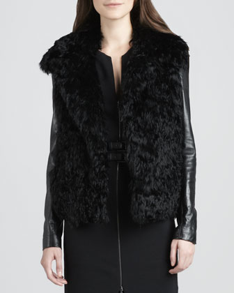 Leather-Sleeve Fur Coat