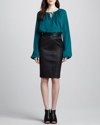 Leather Side-Zip Skirt
