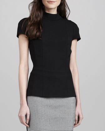 Mock-Neck Crepe Top