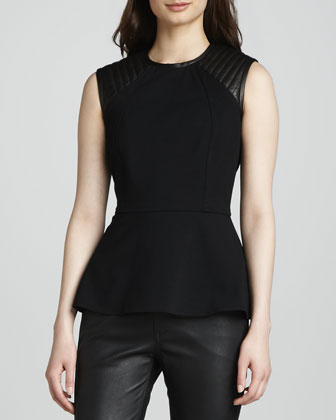 Peplum Top with Quilted Leather Shoulders