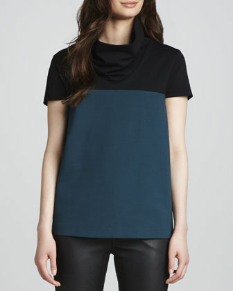 Colorblock Oversize-Turtleneck Top