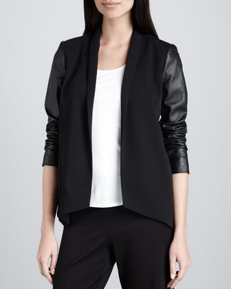 Tropical Suiting Leather-Sleeve Jacket, Women's