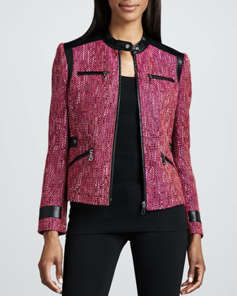 Super Diva Tweed-Textured Jacket, Petite