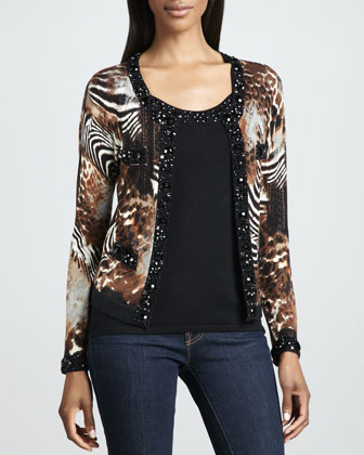 Animal-Print Beaded Cardigan, Petite