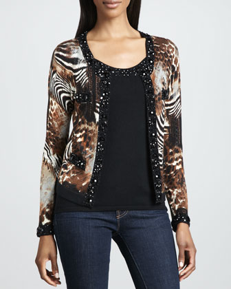 Animal-Print Beaded Cardigan