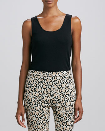 Knit Quilted-Panel Car Coat, Sleeveless Cotton Tank & Leopard-Print Ankle Pants