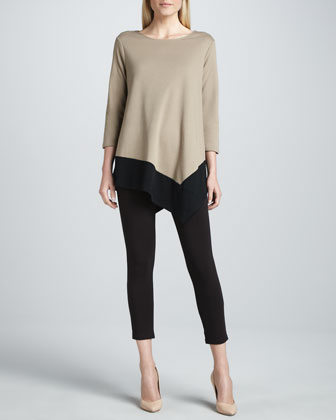 Colorblock Asymmetric Tunic & Cropped Leggings, Petite