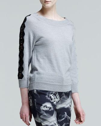 Lace-Sleeve Bateau Sweater