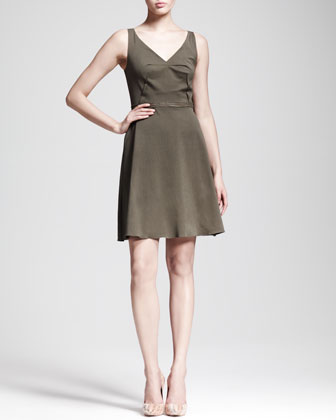 Folded-Waist Sateen Dress