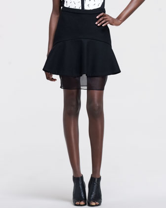 Flared Mix-Fabric Skirt