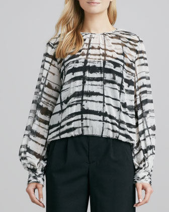Meemee Printed Sheer Blouse