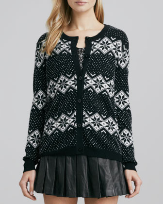 Beaded Cardigan with Snowflake Motif