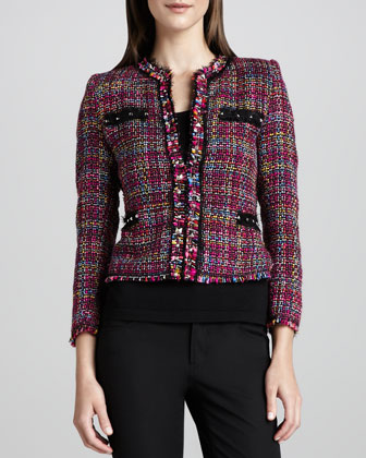 Multicolor Tweed Jacket & Knit Tank, Women's