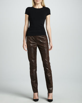 Slim Reptile-Embossed Pants, Women's
