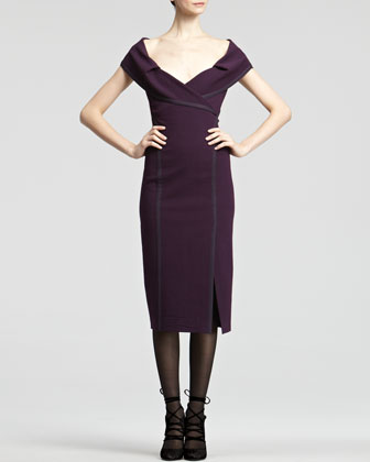 Off-The-Shoulder Crepe Dress, Wild Iris