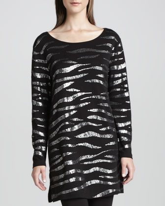 Animal Sequined Tunic, Petite