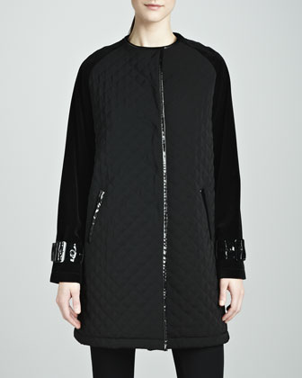 Abby Quilted Velvet-Sleeve Coat