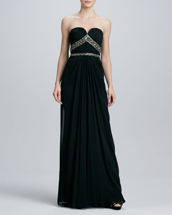 Beaded Strapless Sweetheart Gown