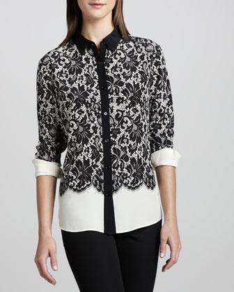 Lace-Print Silk Blouse, Petite
