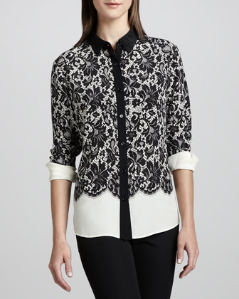 Lace-Print Silk Blouse, Women's
