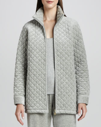 Quilted Velour Long Jacket
