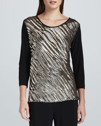 Sequined Mix Easy Top, Petite