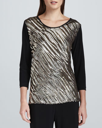 Sequined Mix Easy Top, Women's