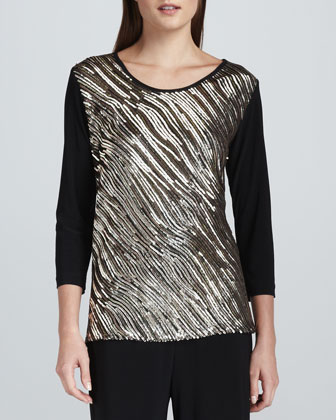 Sequined Mix Easy Top