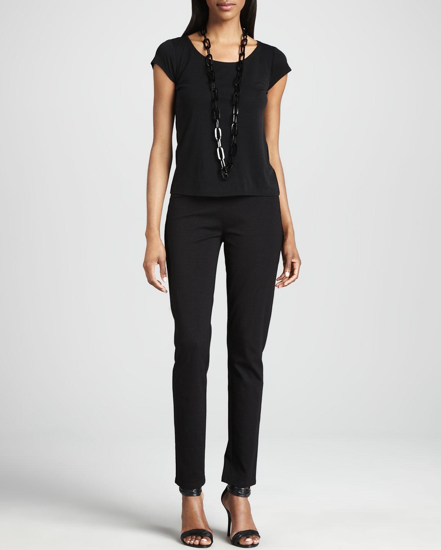Silk Jersey Cap Sleeve Tee, Womens   Eileen Fisher