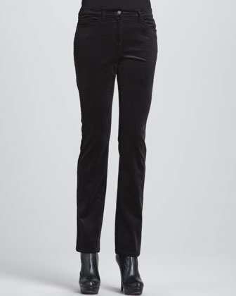 Silk Jersey Long-Sleeve Tunic & Slim Stretch Corduroy Jeans