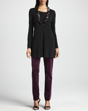 Silk Jersey Long-Sleeve Tunic & Slim Stretch Corduroy Jeans, Women's