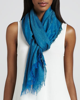 Cross-Dyed Silk/Cashmere Wrap, Azure