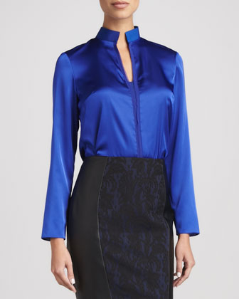 Selena Long-Sleeve Mock-Collar Blouse