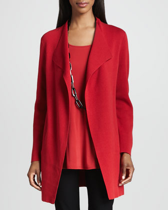 Silk-Cotton Interlock Long Jacket, Women's