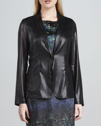 Clara Snap-Front Faux-Leather Jacket
